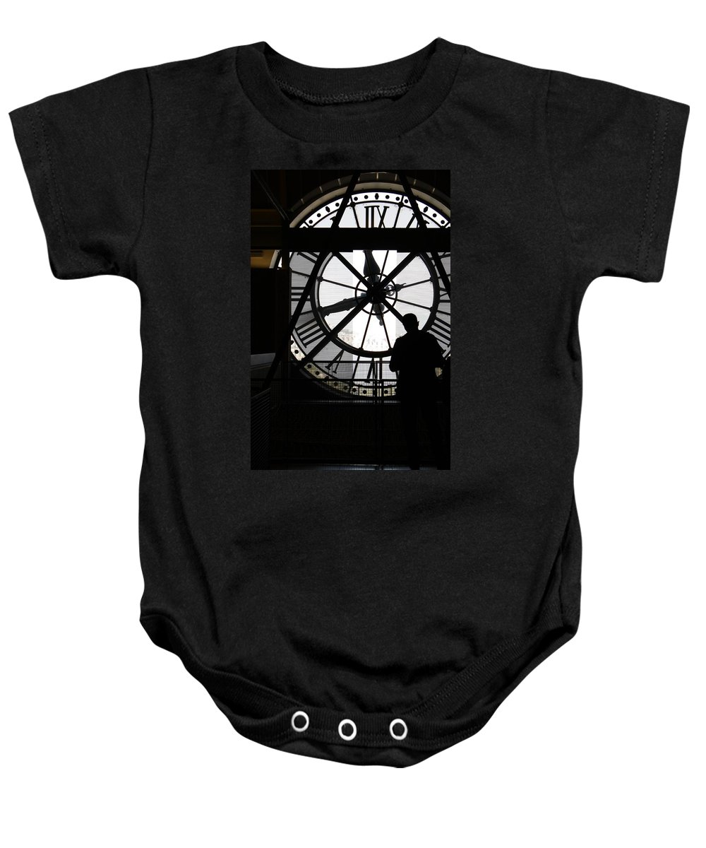 Clock Baby Onesie featuring the photograph Clock Musee D'orsay by Mary-Lee Sanders
