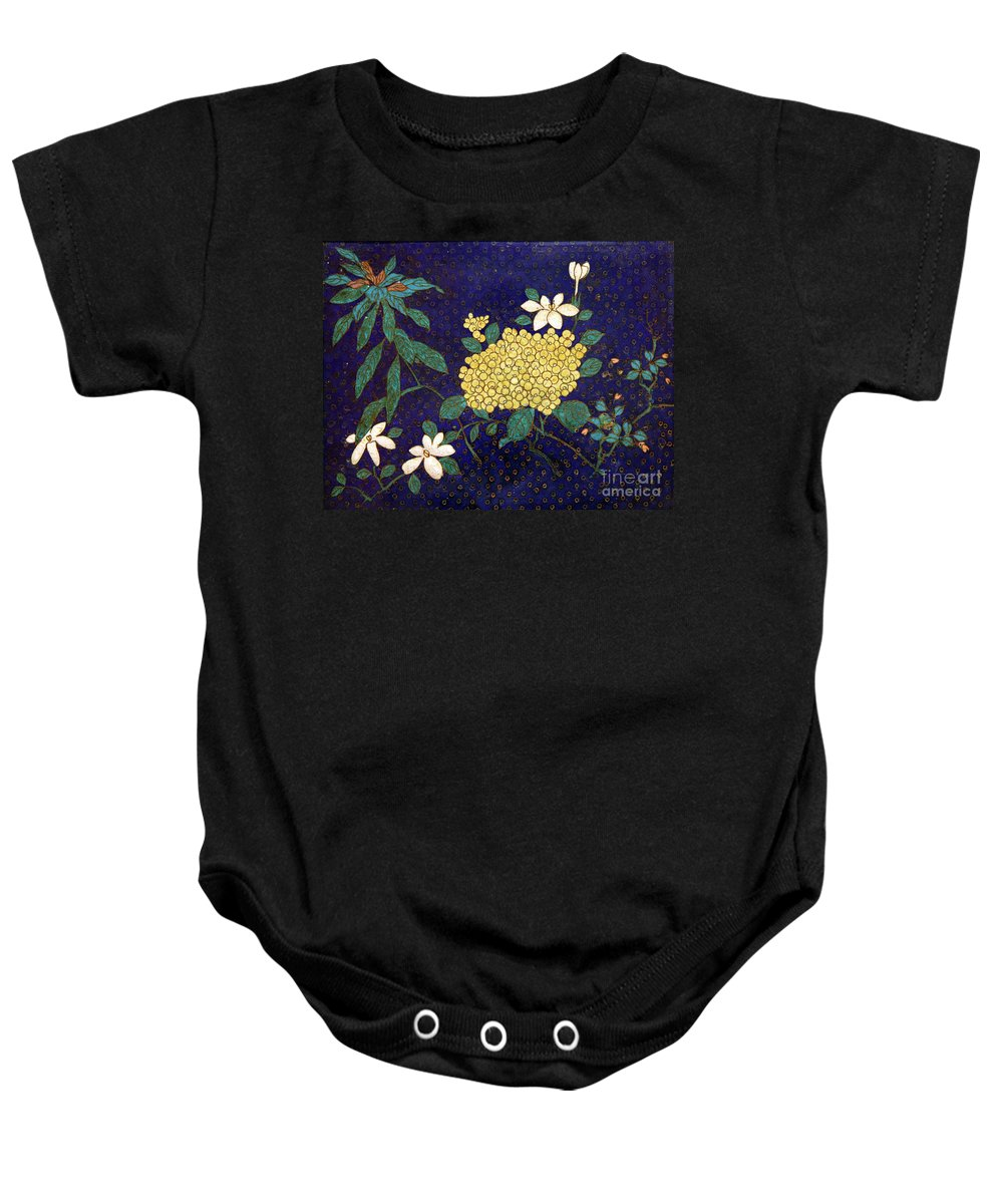 Cloisonee' Baby Onesie featuring the photograph Cloisonee' Flower by Dean Triolo