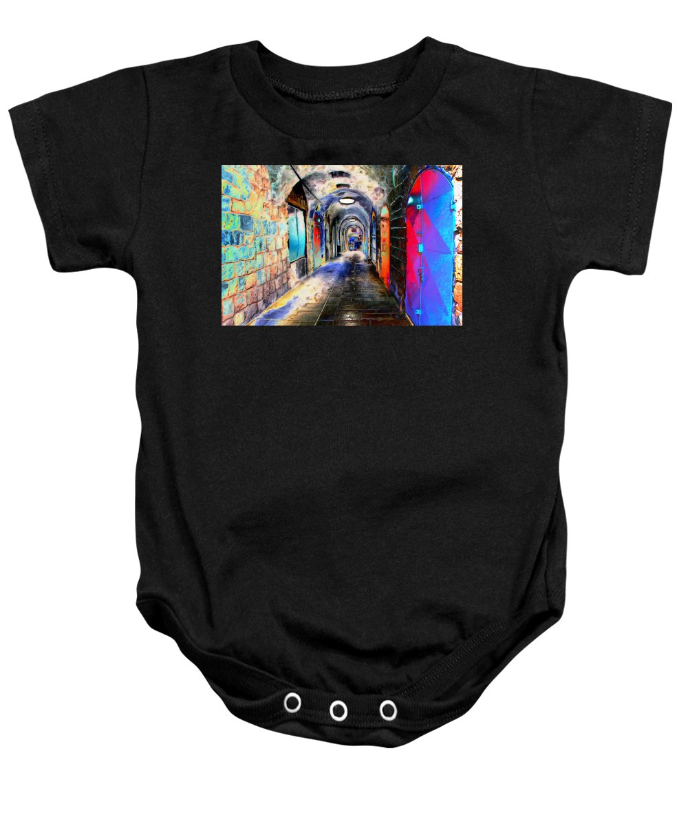 Paintography Baby Onesie featuring the photograph Closed Doors by Munir Alawi