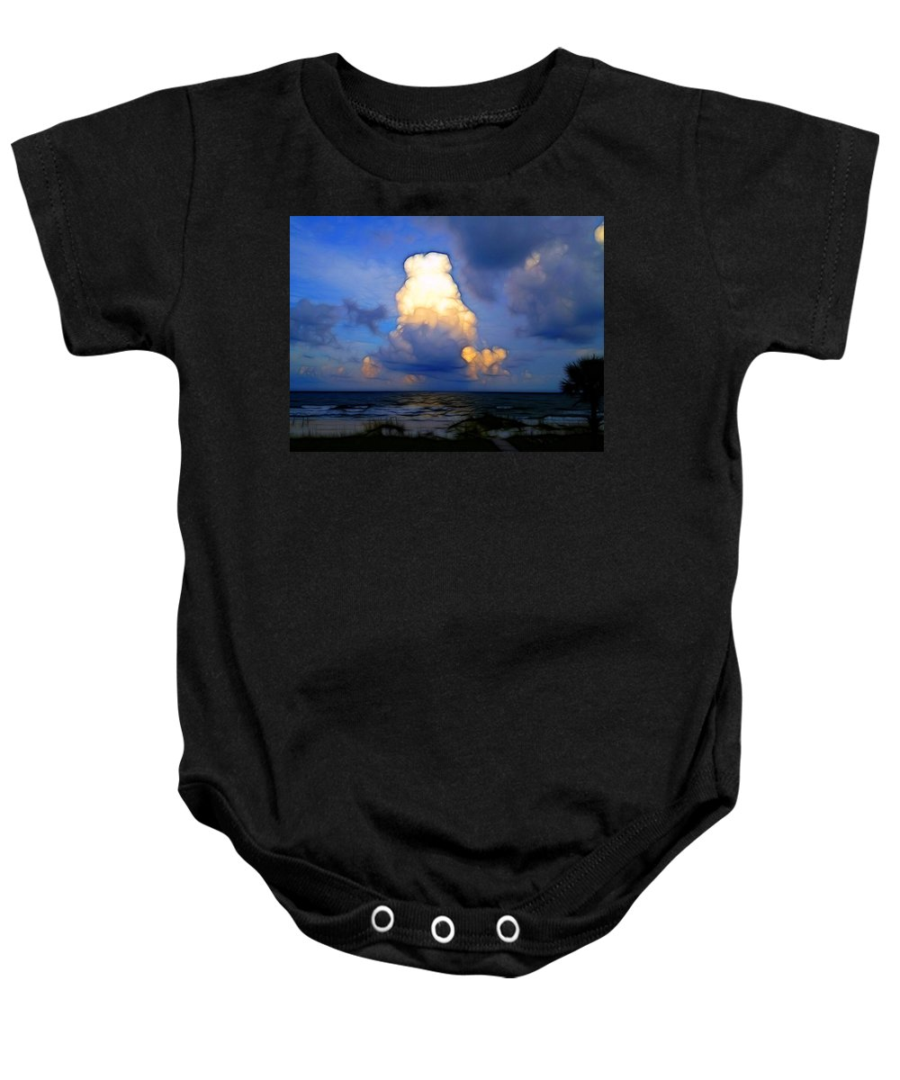 Clouds Baby Onesie featuring the photograph Cloudy Beach by Shirley Sykes Bracken