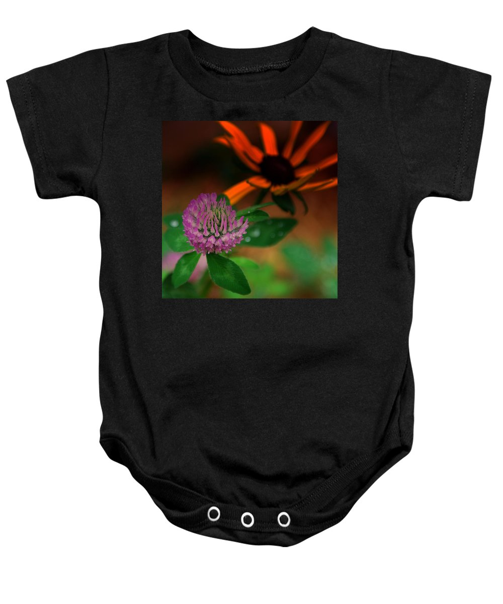 Clover Baby Onesie featuring the photograph Clover In My Yard by Susanne Van Hulst