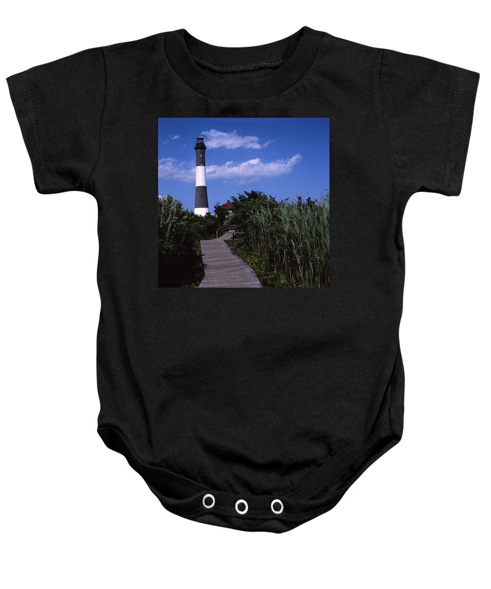 Landscape Lighthouse Fire Island Baby Onesie featuring the photograph Cnrf0702 by Henry Butz