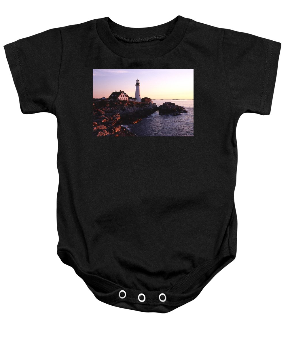 Landscape Lighthouse Nautical New England Portland Head Light Cape Elizabeth Baby Onesie featuring the photograph Cnrf0904 by Henry Butz