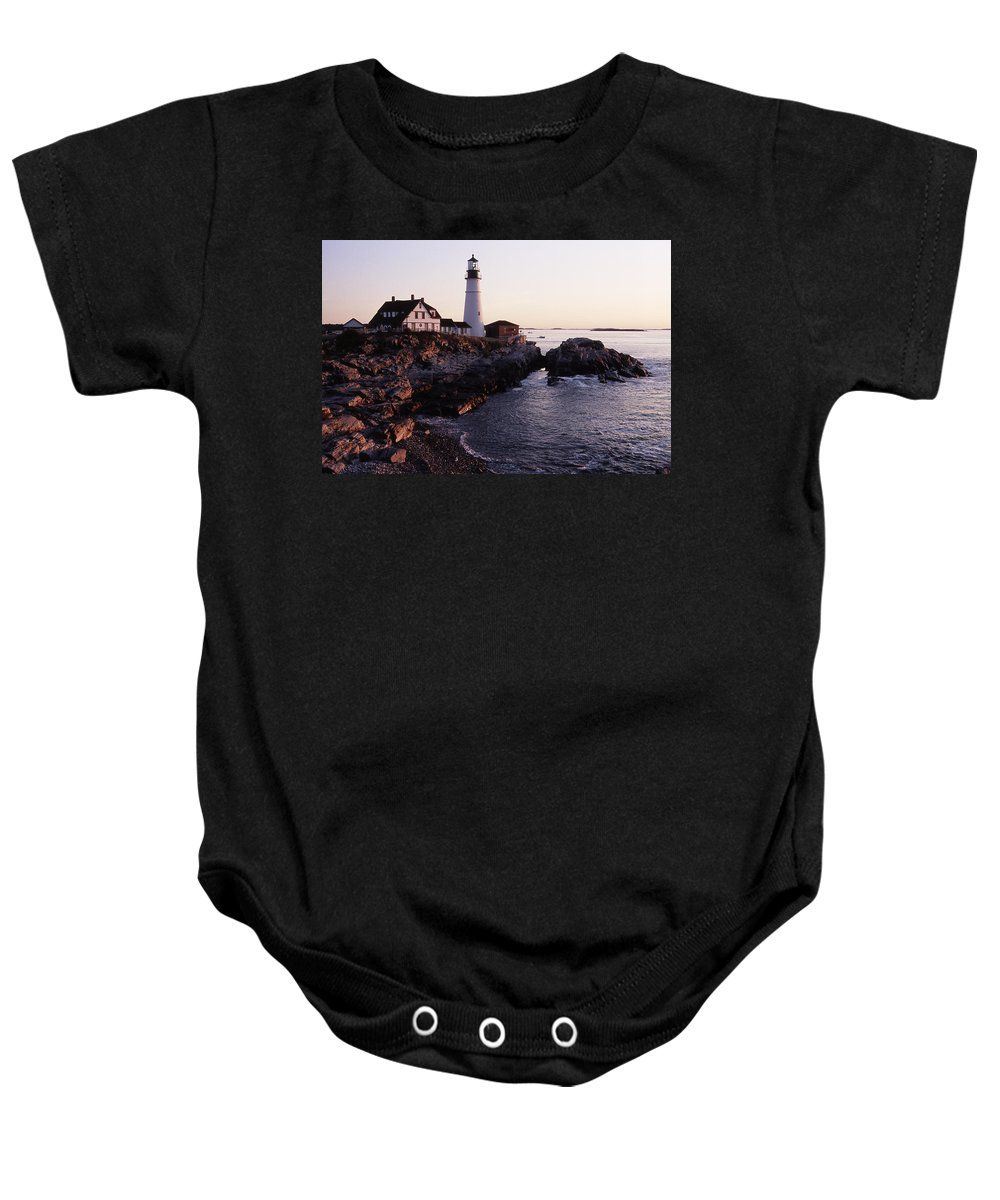 Landscape Lighthouse Nautical New England Portland Head Light Cape Elizabeth Baby Onesie featuring the photograph Cnrf0905 by Henry Butz