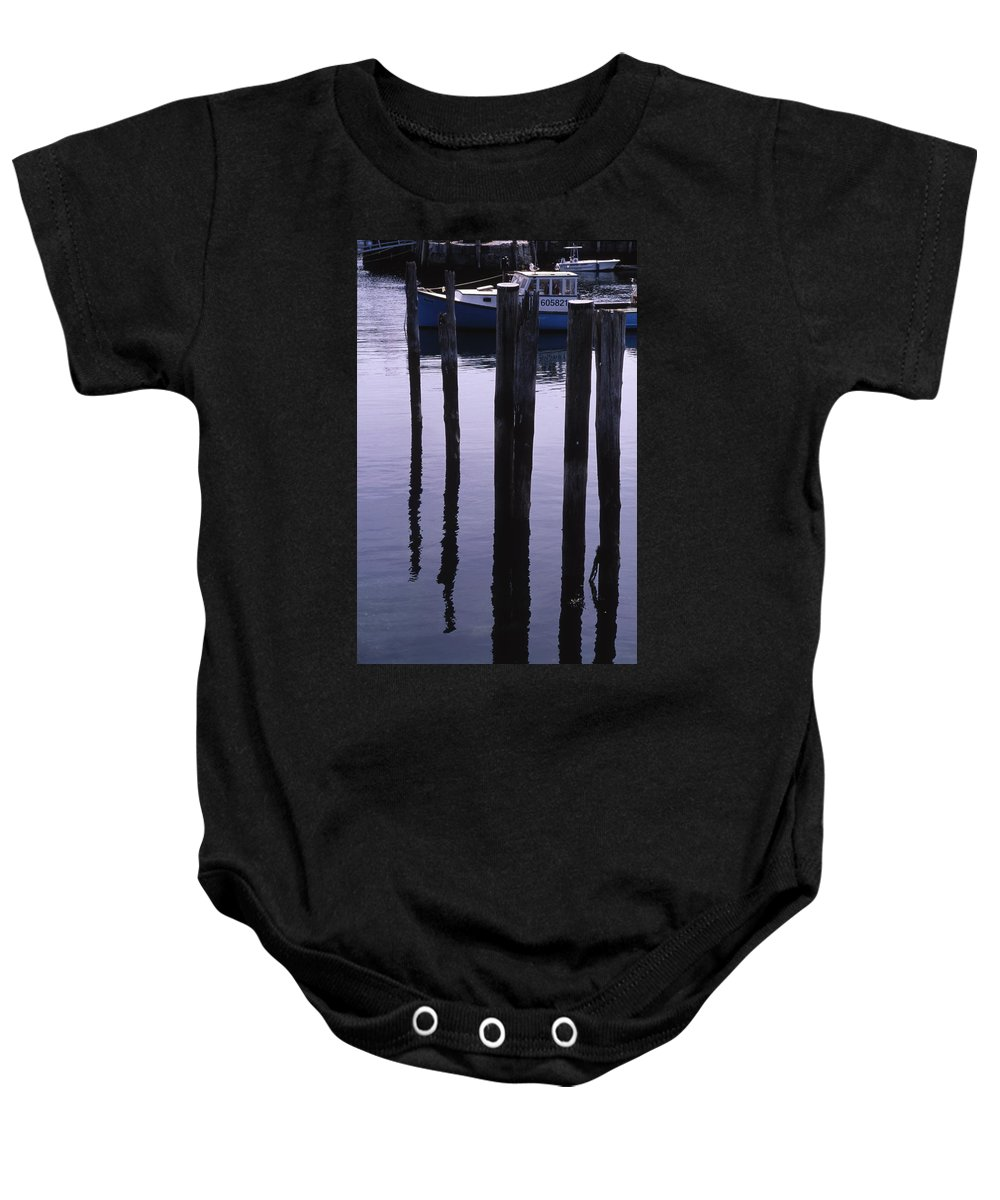 Landscape New England Fishing Boat Nautical Coast Baby Onesie featuring the photograph Cnrf0907 by Henry Butz