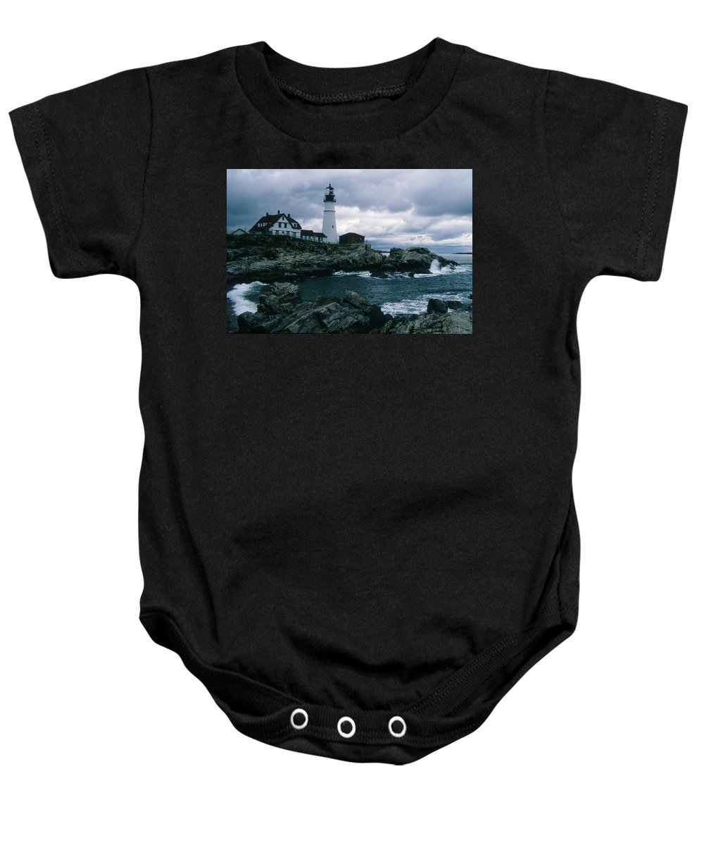Landscape New England Lighthouse Nautical Storm Coast Baby Onesie featuring the photograph Cnrg0601 by Henry Butz