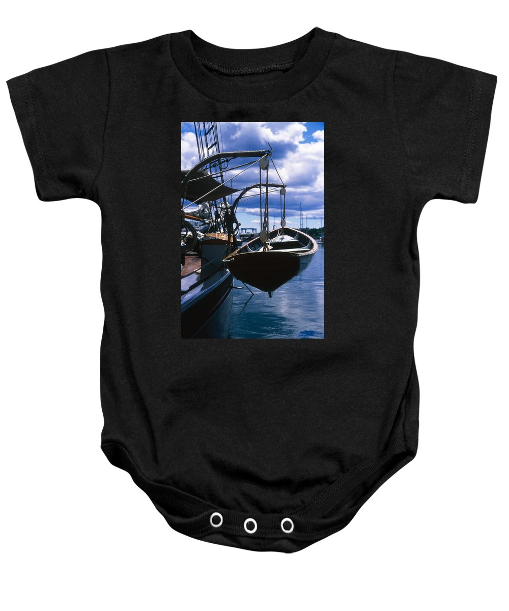 Landscape Camden Harbor Maine Sail Boat Harbor Nautical Baby Onesie featuring the photograph Cnrh0601 by Henry Butz