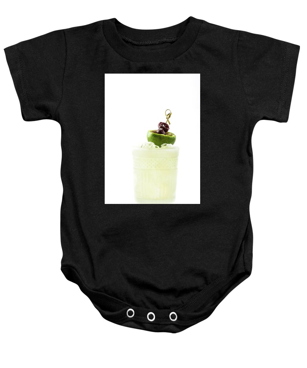 Alcohol Baby Onesie featuring the photograph Cocktail With Lime And Berries by Oleg Yermolov