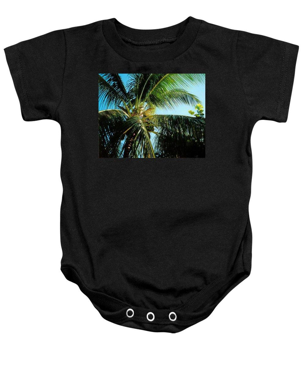 Jamaica Baby Onesie featuring the photograph Coconut Tree by Debbie Levene