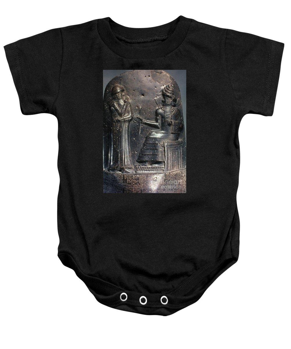 18th Century B.c. Baby Onesie featuring the photograph Code Of Hammurabi (detail) by Granger