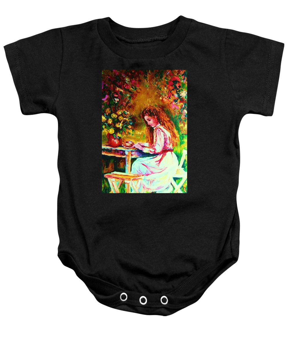 Impressionism Baby Onesie featuring the painting Coffee In The Garden by Carole Spandau