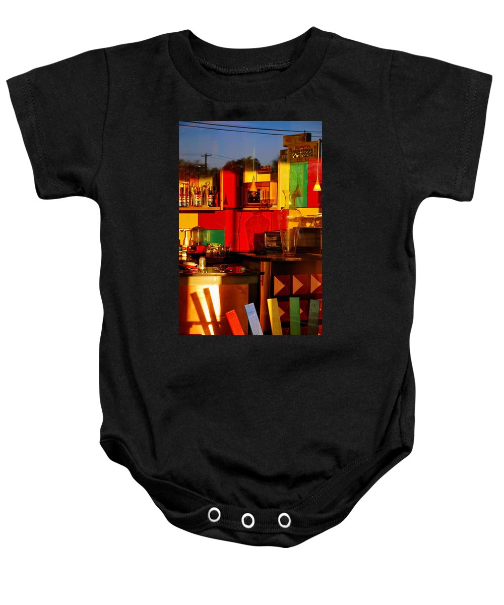 Skip Hunt Baby Onesie featuring the photograph Coffee Shop by Skip Hunt
