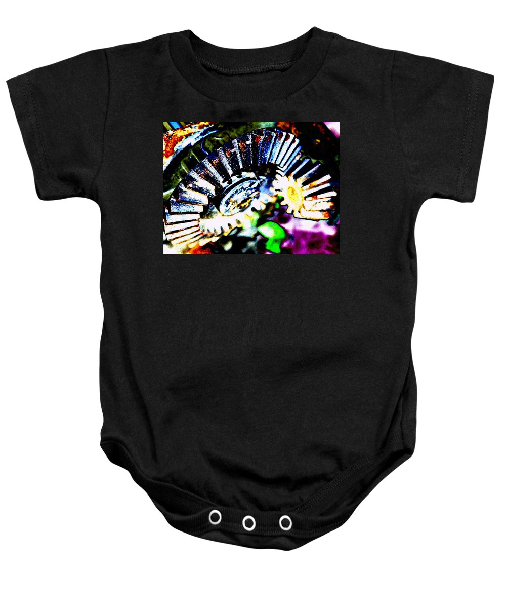 Cogs Baby Onesie featuring the digital art Cogs by Tim Allen