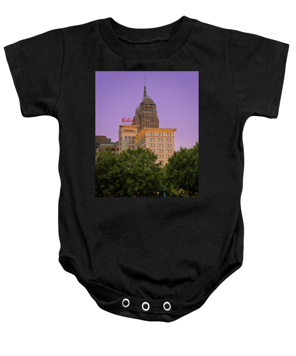 Okc Baby Onesie featuring the photograph Colcord II by Ricky Barnard