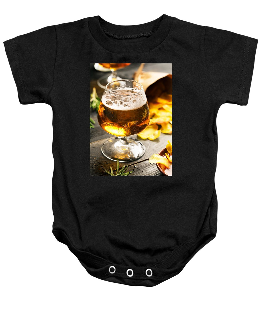 Vadim Goodwill Baby Onesie featuring the photograph Cold Beer And Delicious Snacks by Vadim Goodwill