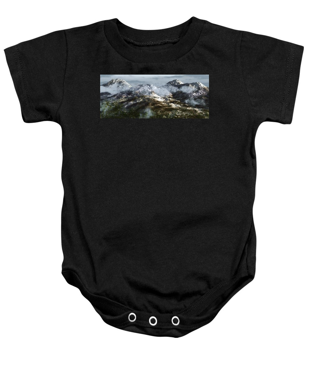 Mountains Baby Onesie featuring the digital art Cold Mountain by Richard Rizzo