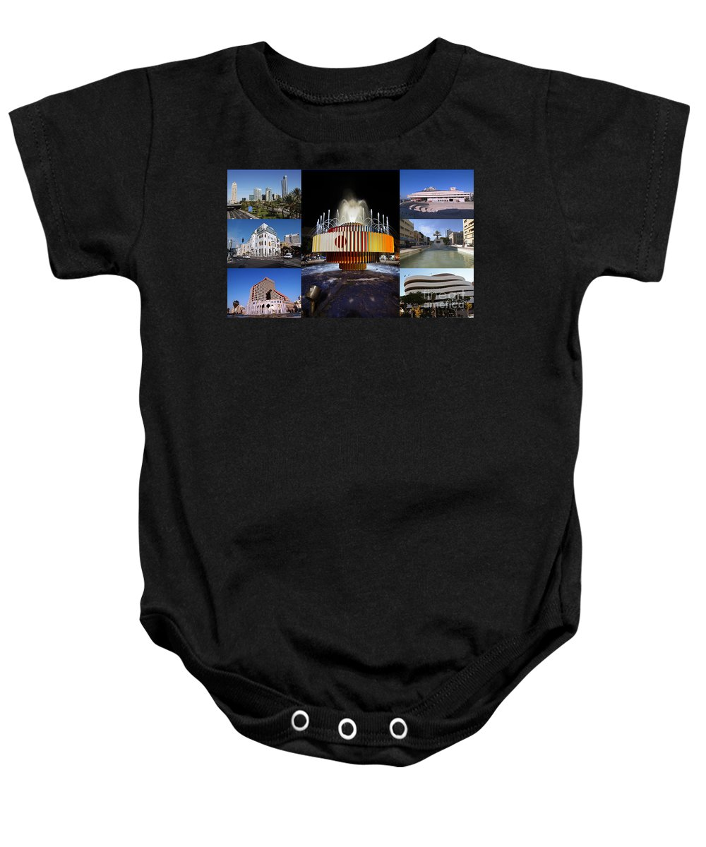 Collage Baby Onesie featuring the photograph Collage Of Tel Aviv Israel by Ilan Rosen