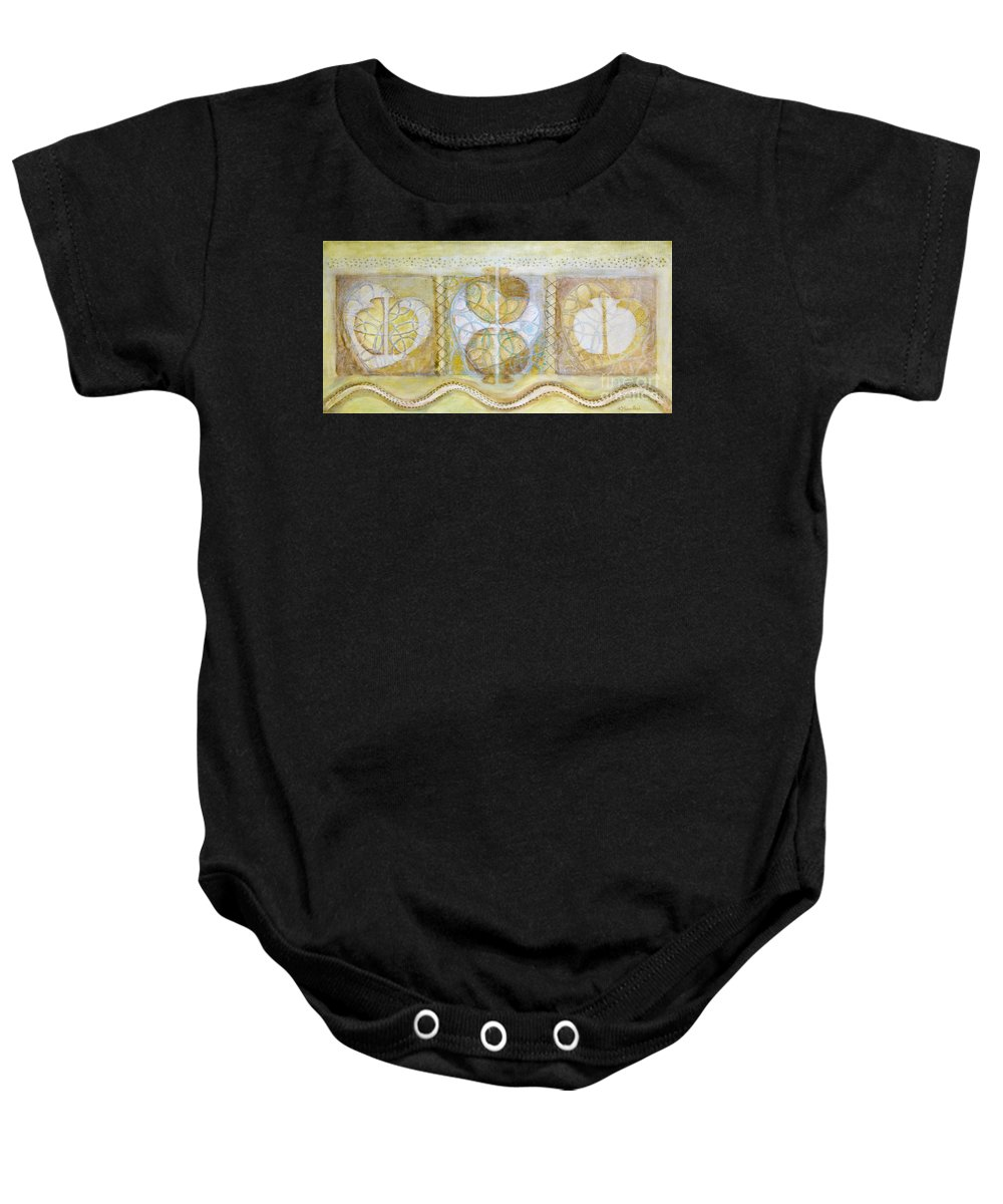 Symbolism Baby Onesie featuring the painting Collective Unconscious Three Equals One Equals Enlightenment by Kerryn Madsen- Pietsch