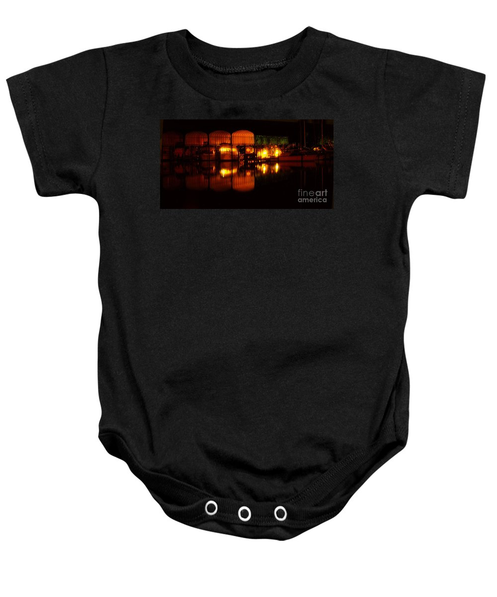 Clay Baby Onesie featuring the photograph Colonial Beach Docks After Dark by Clayton Bruster