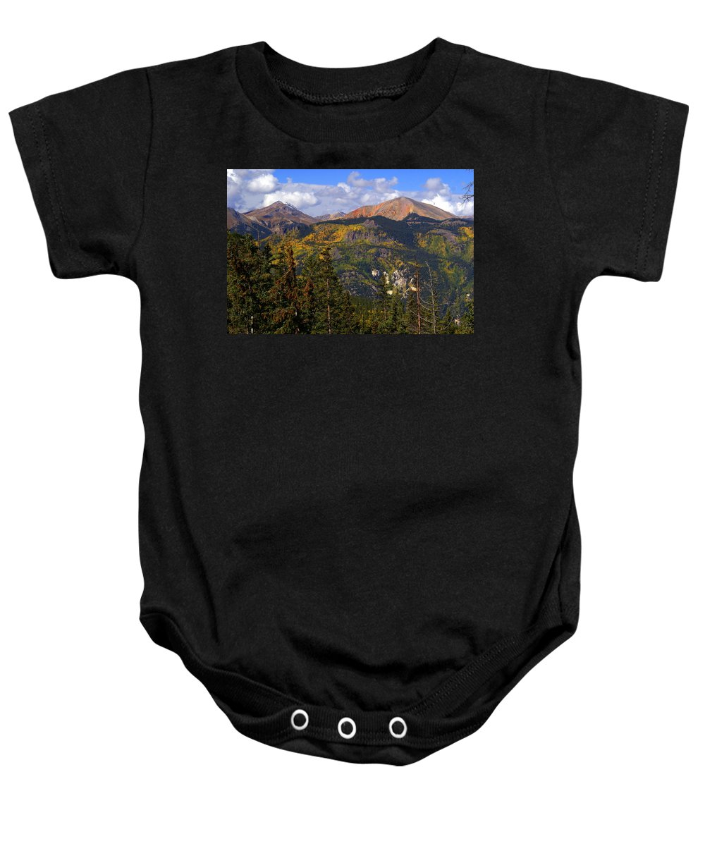 Mountain Baby Onesie featuring the photograph Colorado Fall by Marty Koch