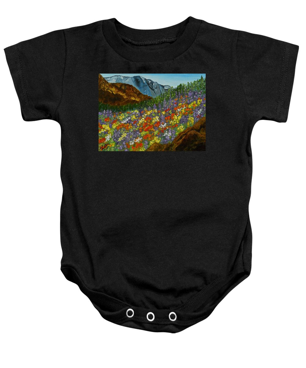 Colorado Art   Oil Painting   Impressionism   Wildflowers   Colorado Mountains   Abstract Art   Evergreen Trees   Contemporary Art   Flowers   Baby Onesie featuring the painting Colorado Wildflowers by Kathy Symonds