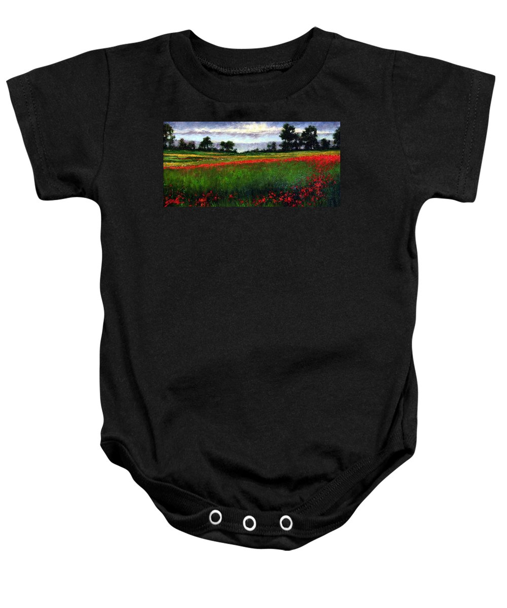 Landscape Baby Onesie featuring the painting Colorburst by Jim Gola