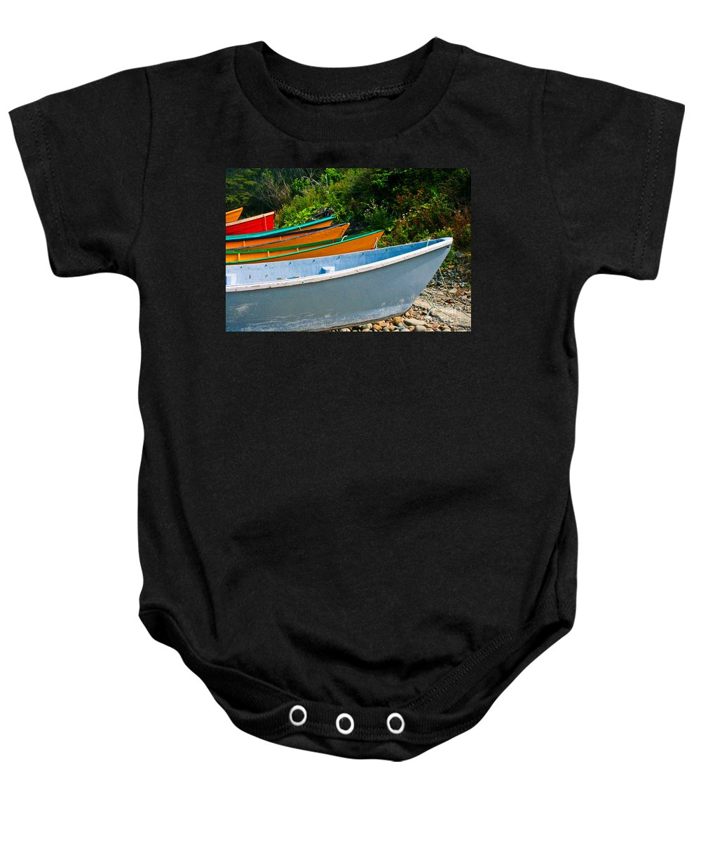 Fishing Baby Onesie featuring the photograph Colorful Fishing Boats On A Rocky Shore Grand Manan by Thomas Marchessault
