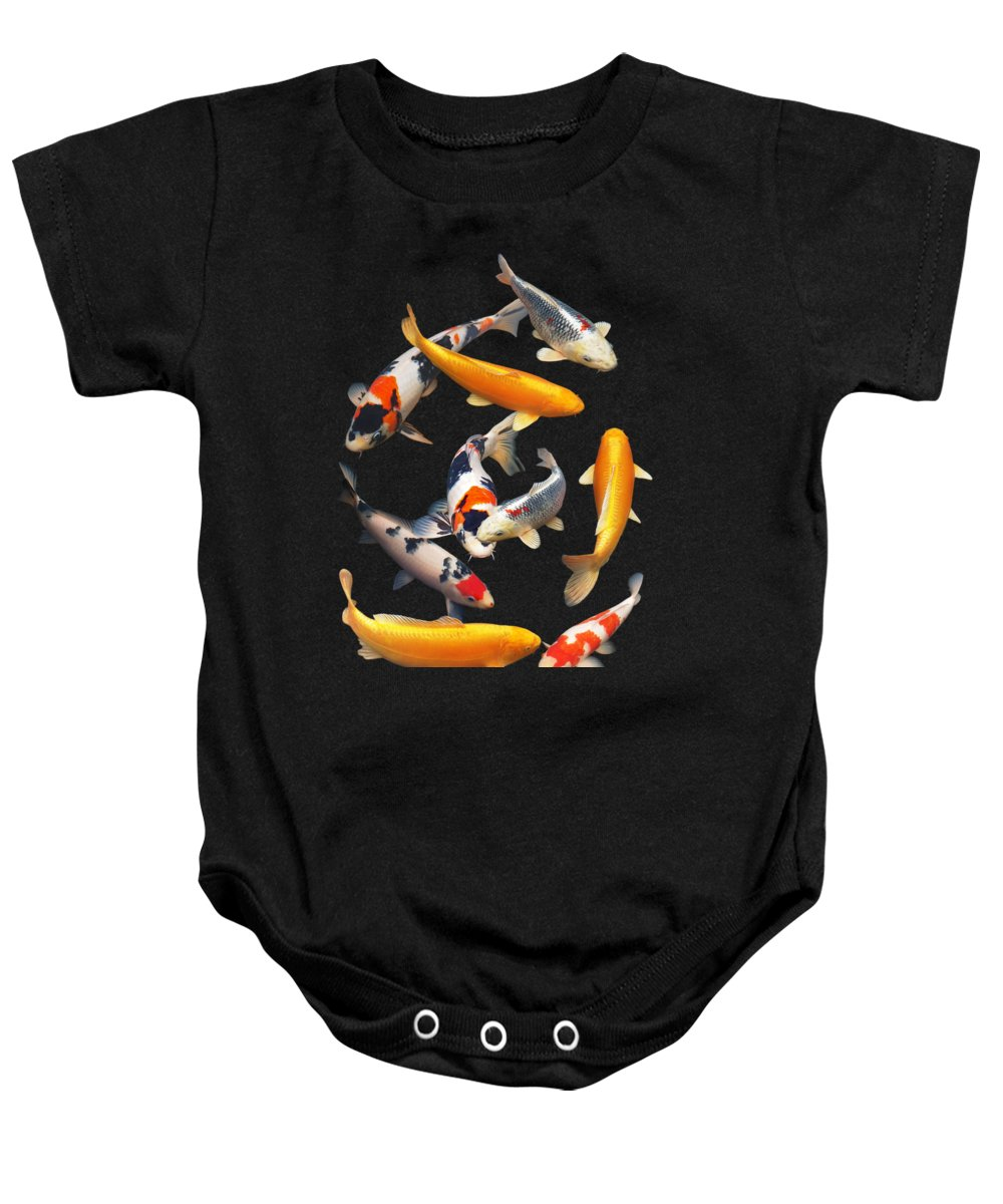 Fish Baby Onesie featuring the photograph Colorful Japanese Koi Vertical by Gill Billington