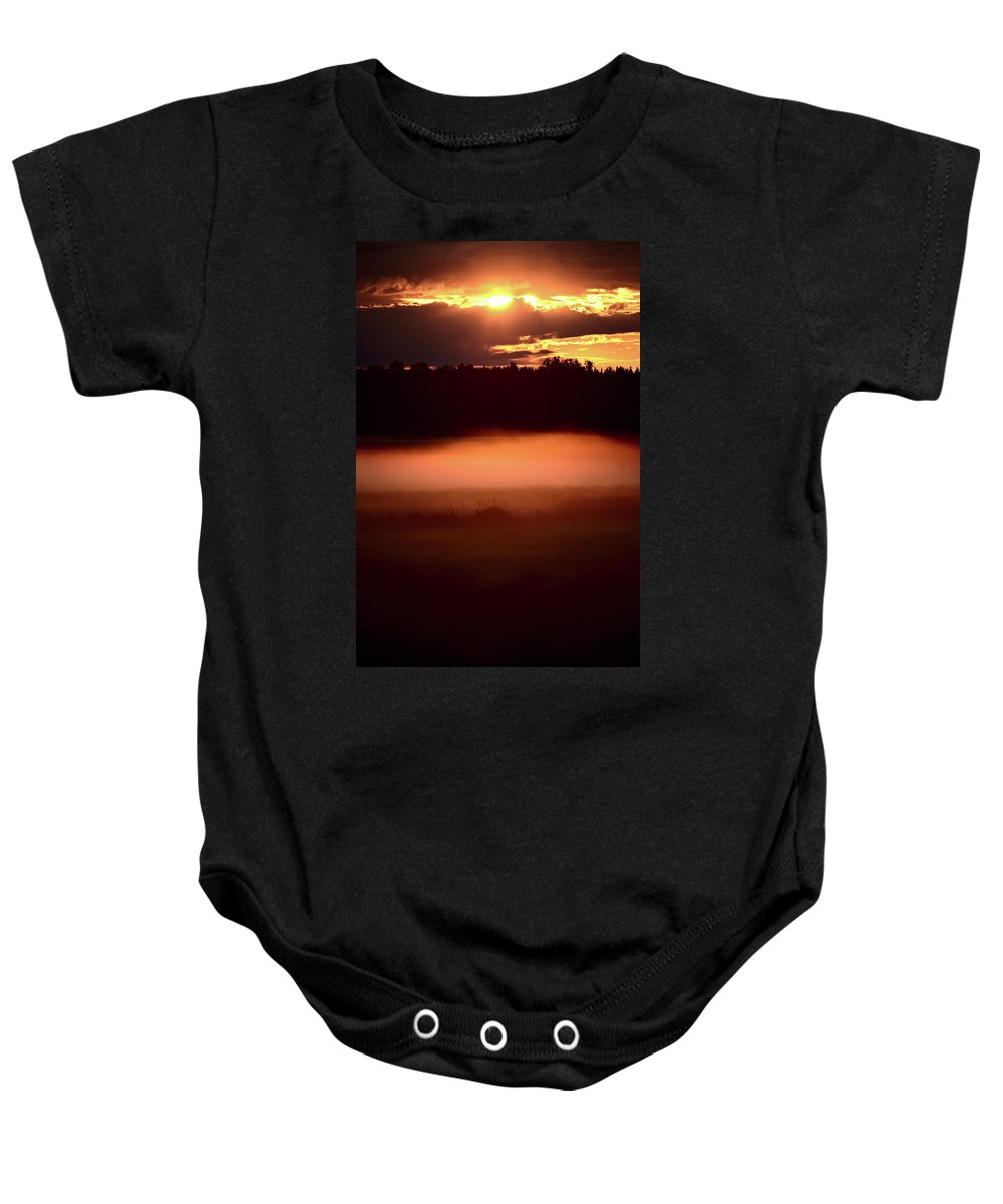 Sun Baby Onesie featuring the digital art Colorful Skies Nearing Sunset by Mark Duffy