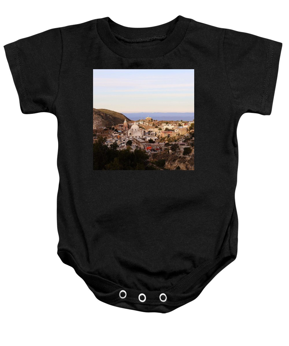 Town Baby Onesie featuring the photograph Colorfusk Dusk Sky Over A Typical Mexican Town by Seb Estrada