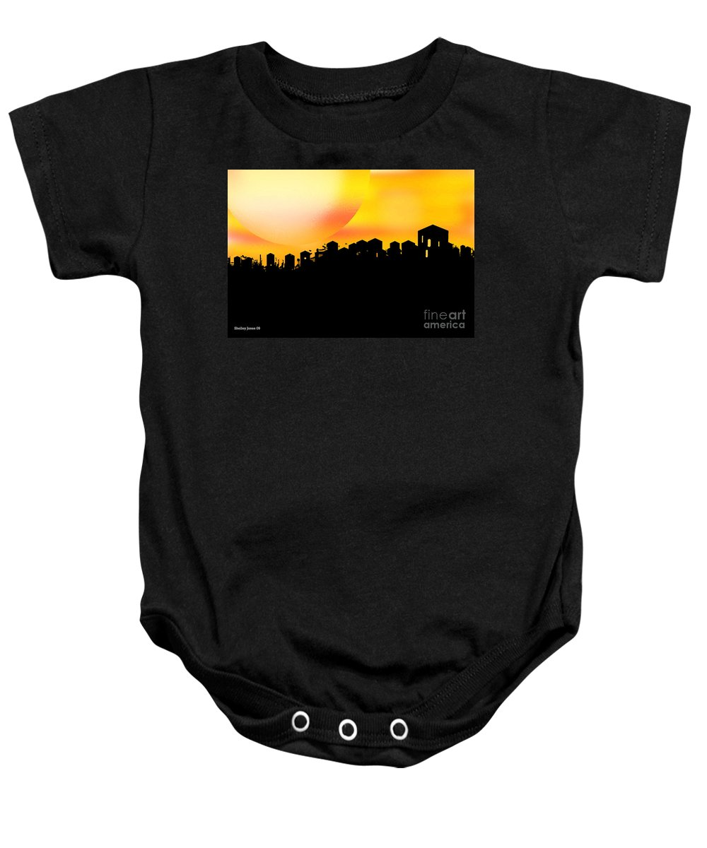 Sunset Baby Onesie featuring the digital art Colossal Ending by Shelley Jones