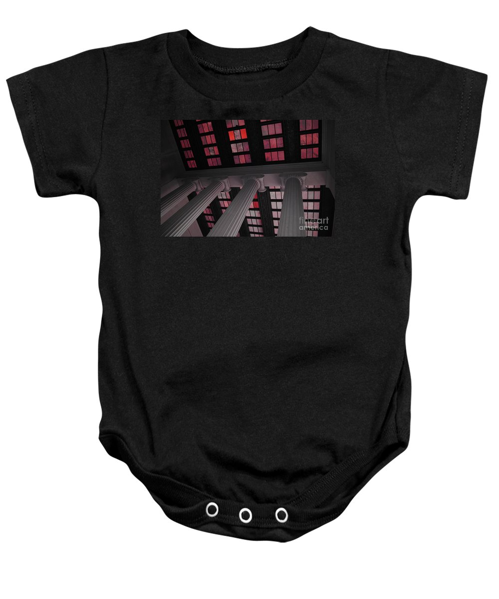 Lincoln Baby Onesie featuring the photograph Column Stain Red by Jost Houk