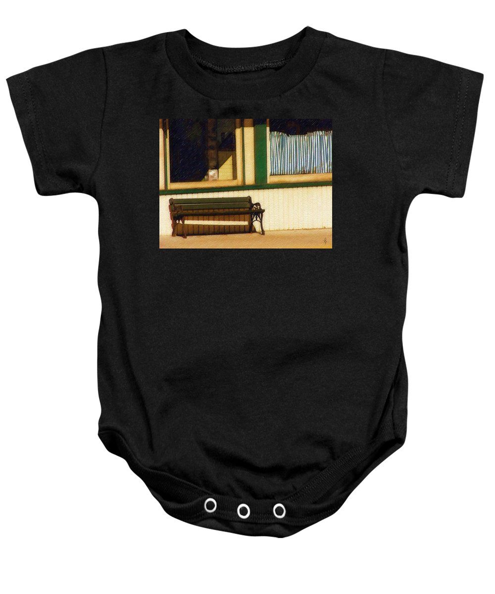 Bench Baby Onesie featuring the photograph Come Sit A Spell by Sandy MacGowan