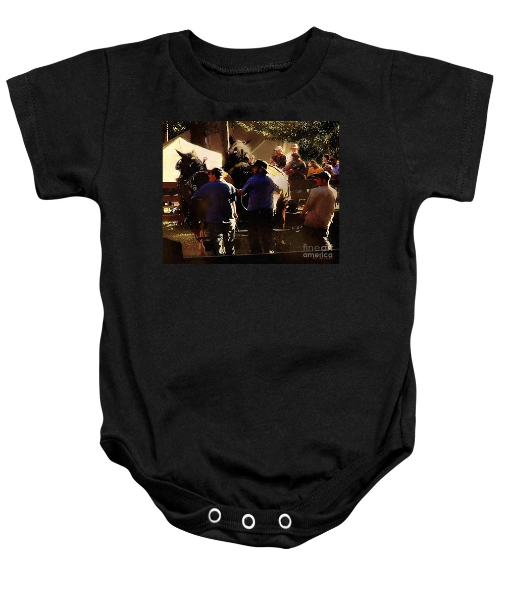 Horses Baby Onesie featuring the painting Coming Around by RC DeWinter