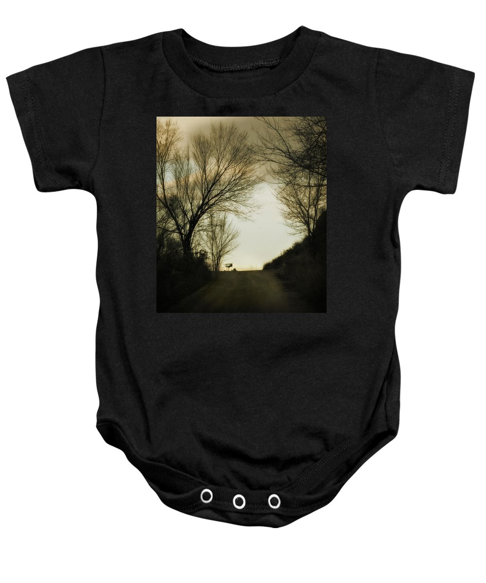Rural Baby Onesie featuring the photograph Coming Up The Drive by Marilyn Hunt