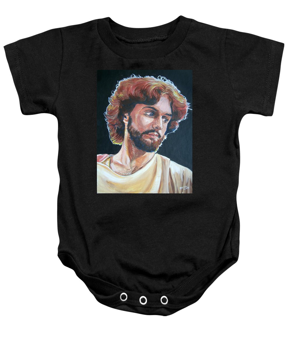 Jesus Christ Baby Onesie featuring the painting Compassionate Christ by Bryan Bustard