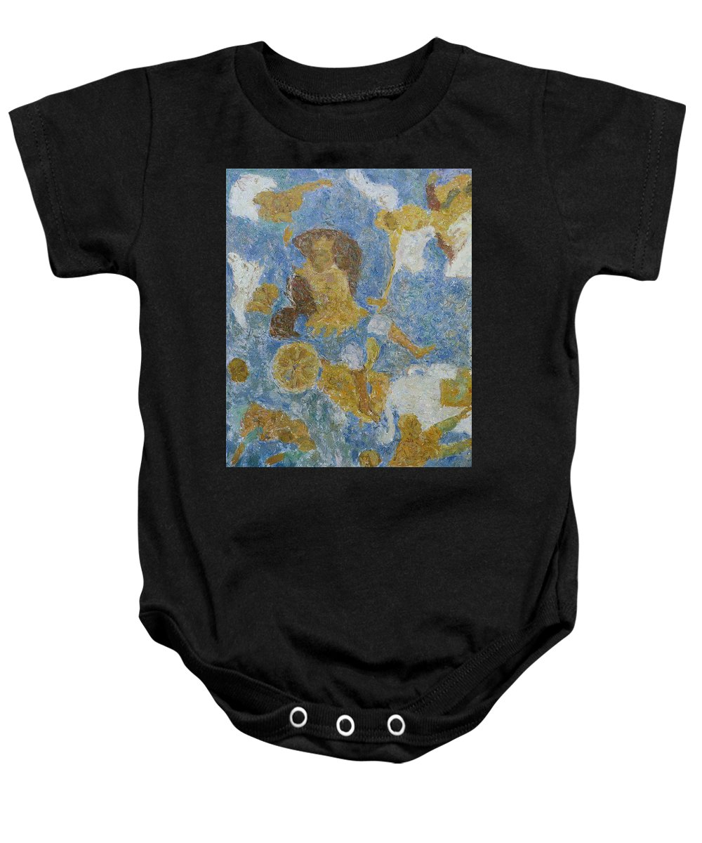 Pharaoh Baby Onesie featuring the painting Exodus by Robert Nizamov