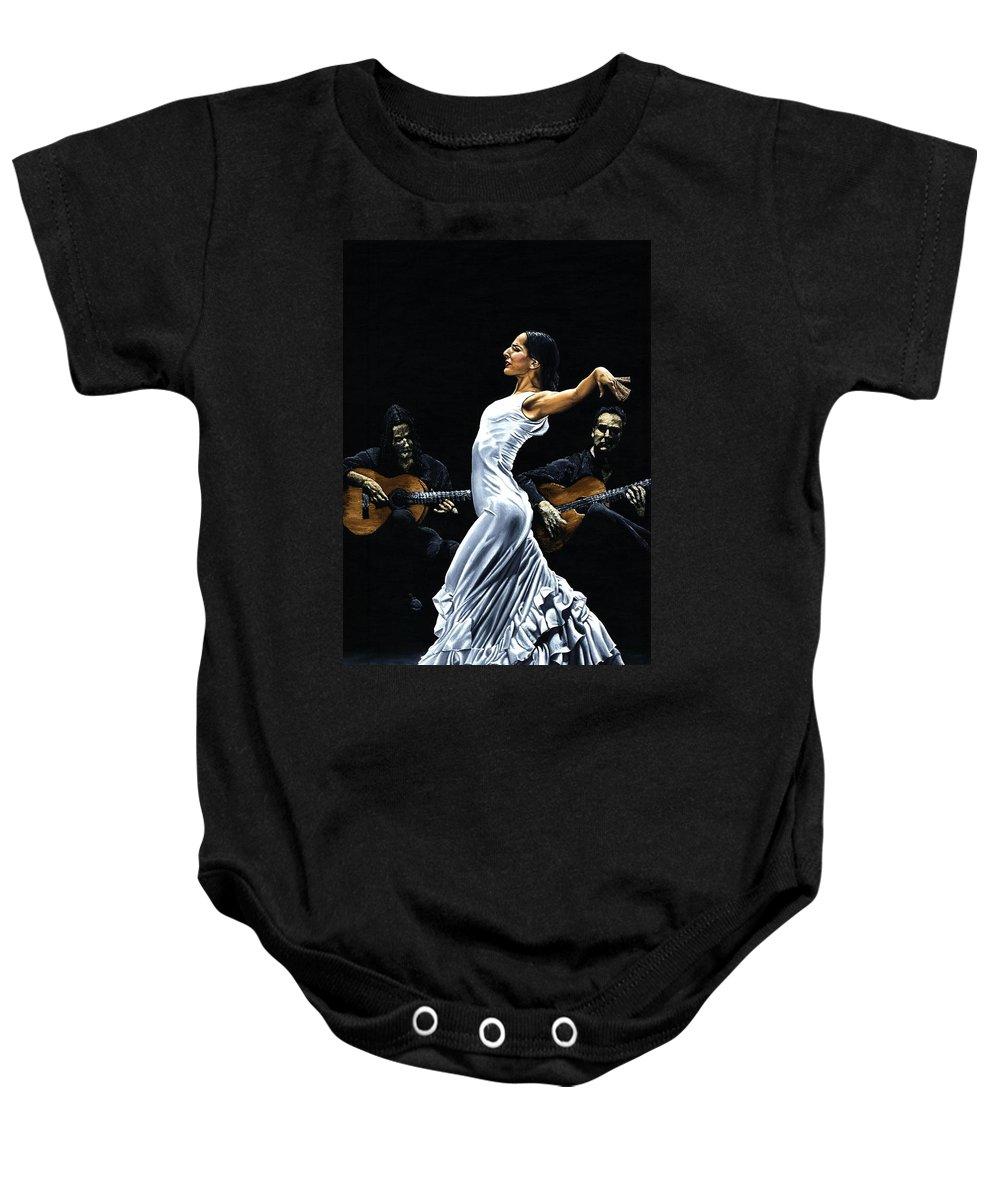 Flamenco Baby Onesie featuring the painting Concentracion del Funcionamiento del Flamenco by Richard Young