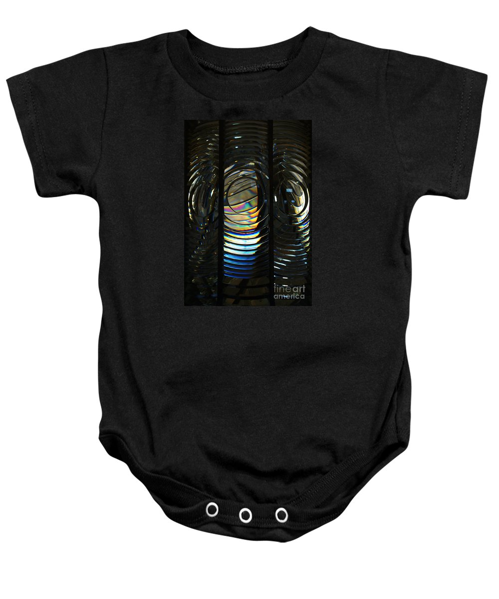 Abstract Baby Onesie featuring the photograph Concentric Glass Prisms by Linda Shafer