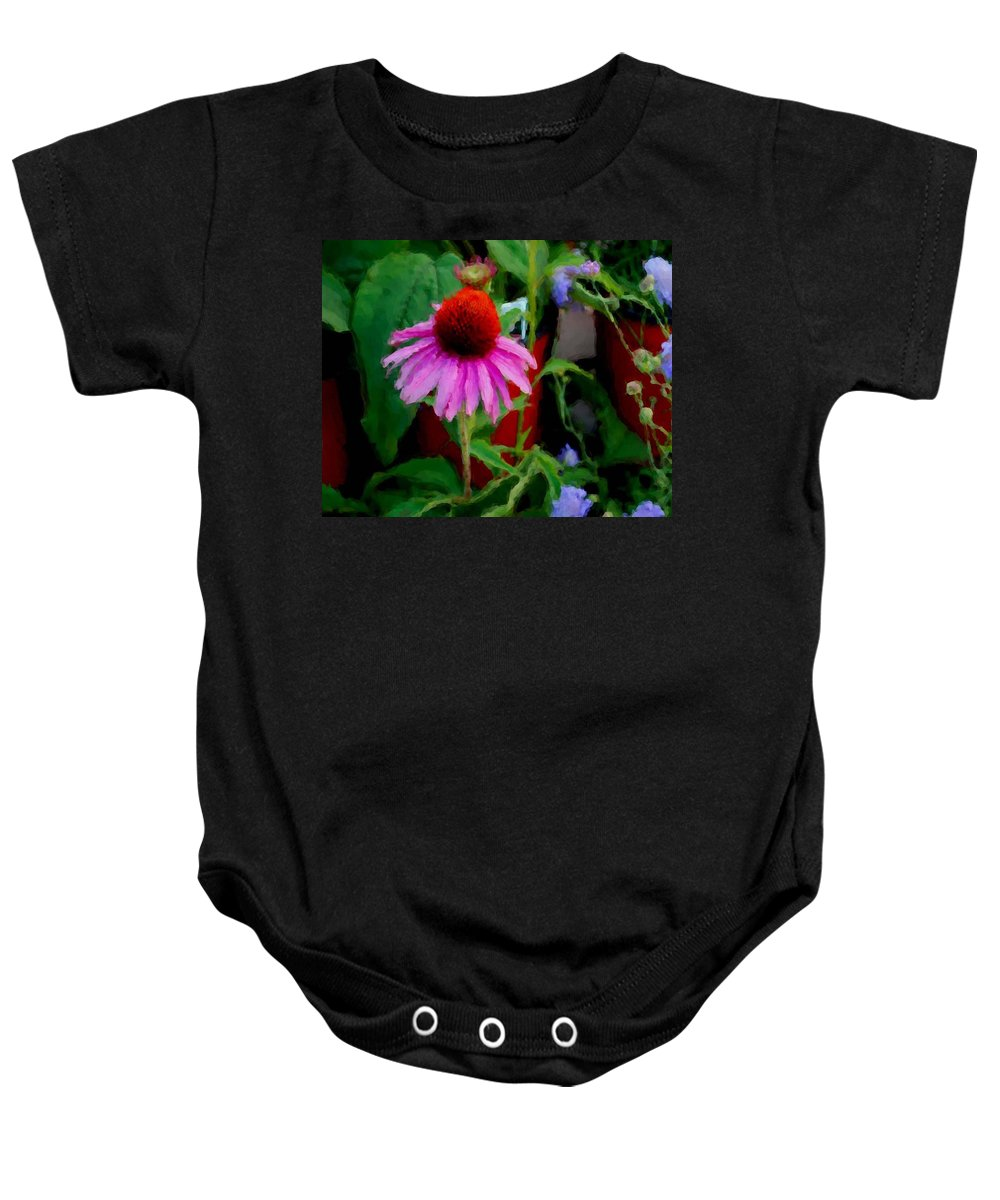 Sunflowers Baby Onesie featuring the painting Coneflower by Michael Thomas