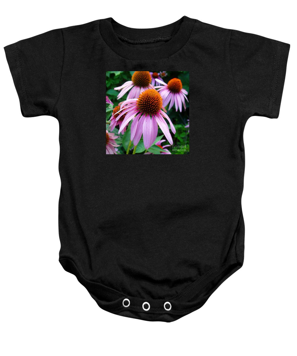 Coneflowers Baby Onesie featuring the photograph Three Coneflowers by Nancy Mueller