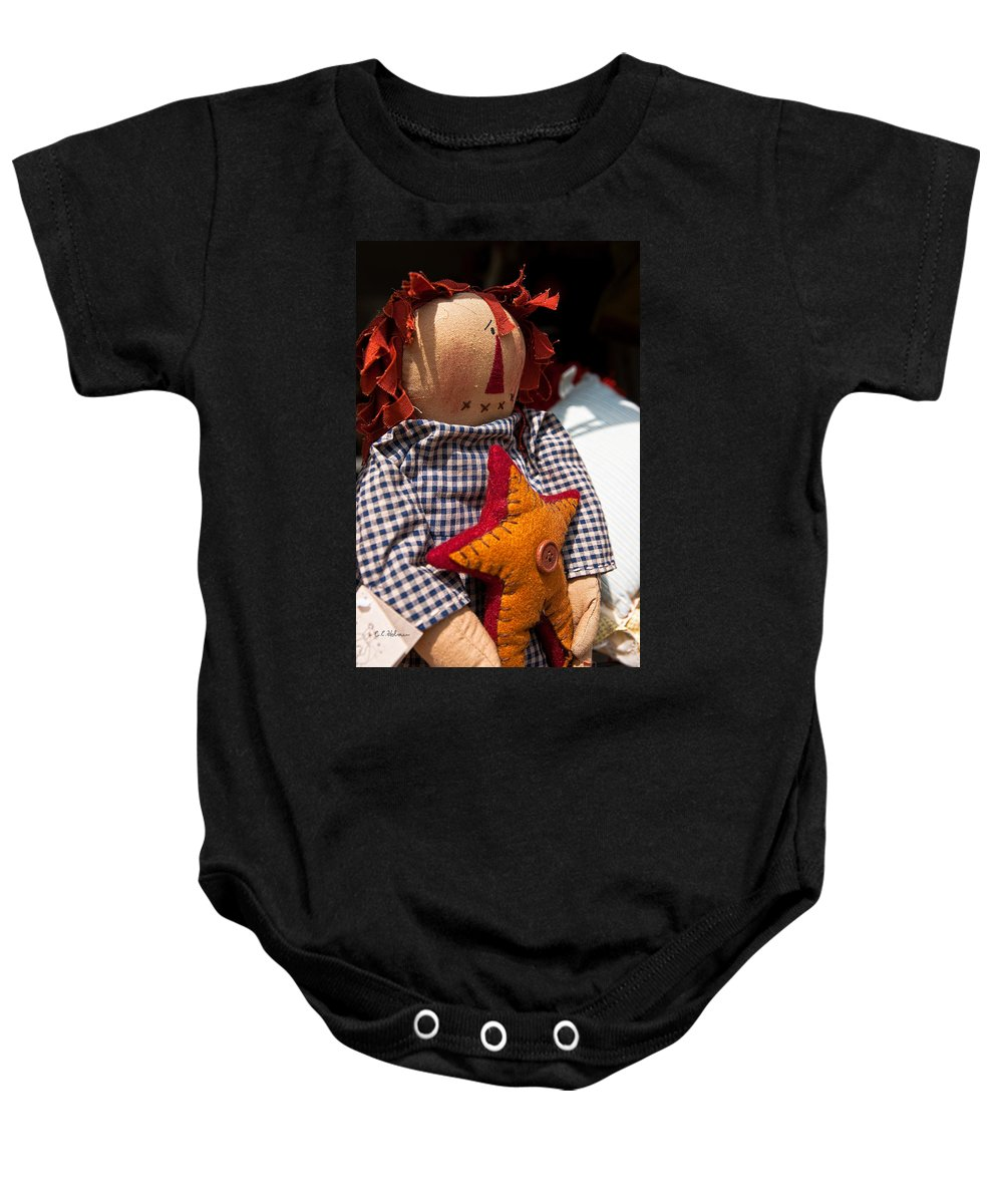 Raggedy Ann Baby Onesie featuring the photograph Confused by Christopher Holmes