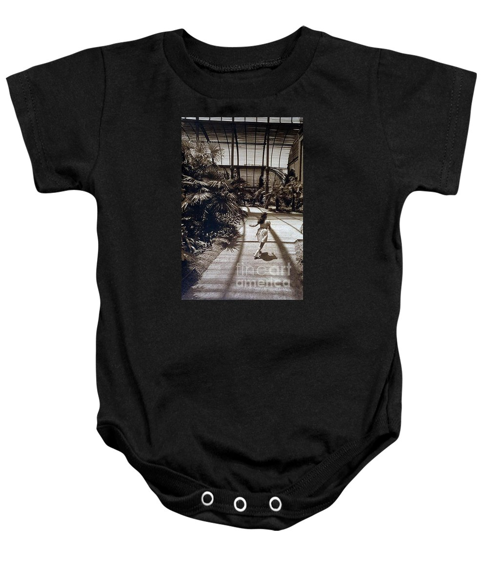 Sepia Baby Onesie featuring the photograph Conservatory, Barcelona 1976 by Michael Ziegler