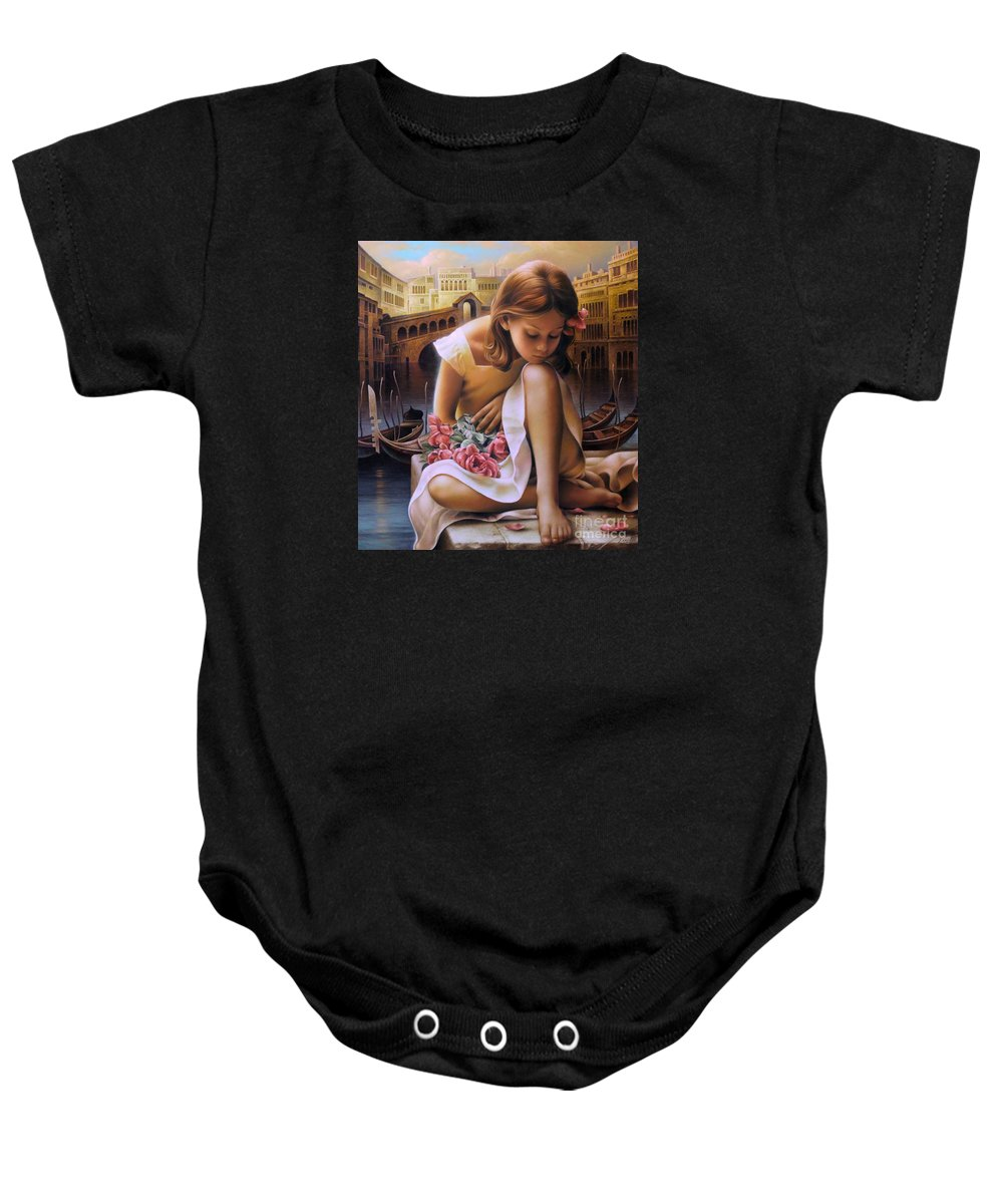 Portrait Baby Onesie featuring the painting Consuelo by Arthur Braginsky