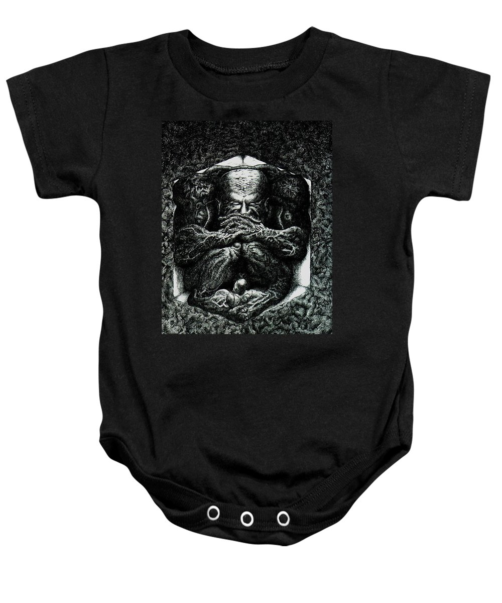 Dark Baby Onesie featuring the drawing Contemplation by Tobey Anderson