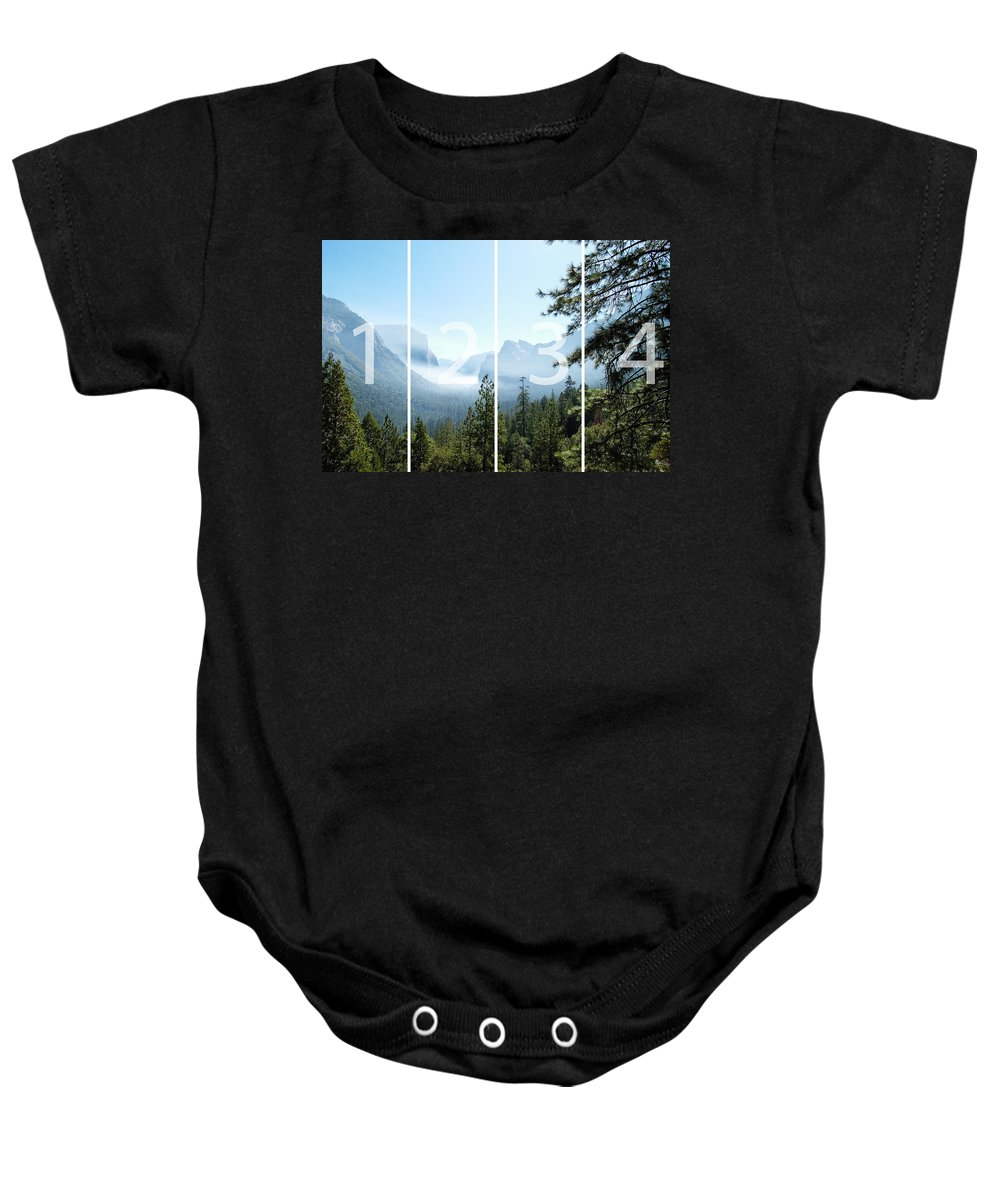 El Capitan Baby Onesie featuring the digital art Controlled Burn Of Yosemite Panoramic Map by Michael Bessler