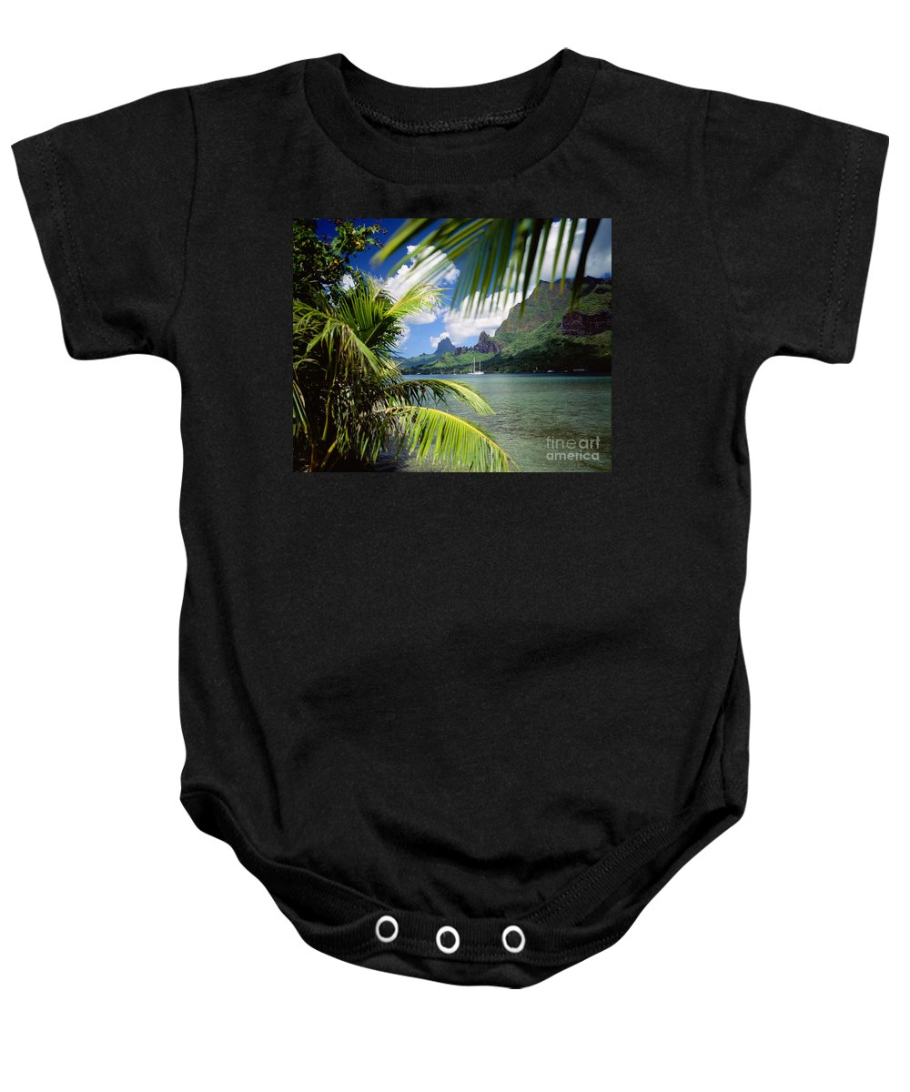 Across Baby Onesie featuring the photograph Cooks Bay With Sailboat by Ron Dahlquist - Printscapes