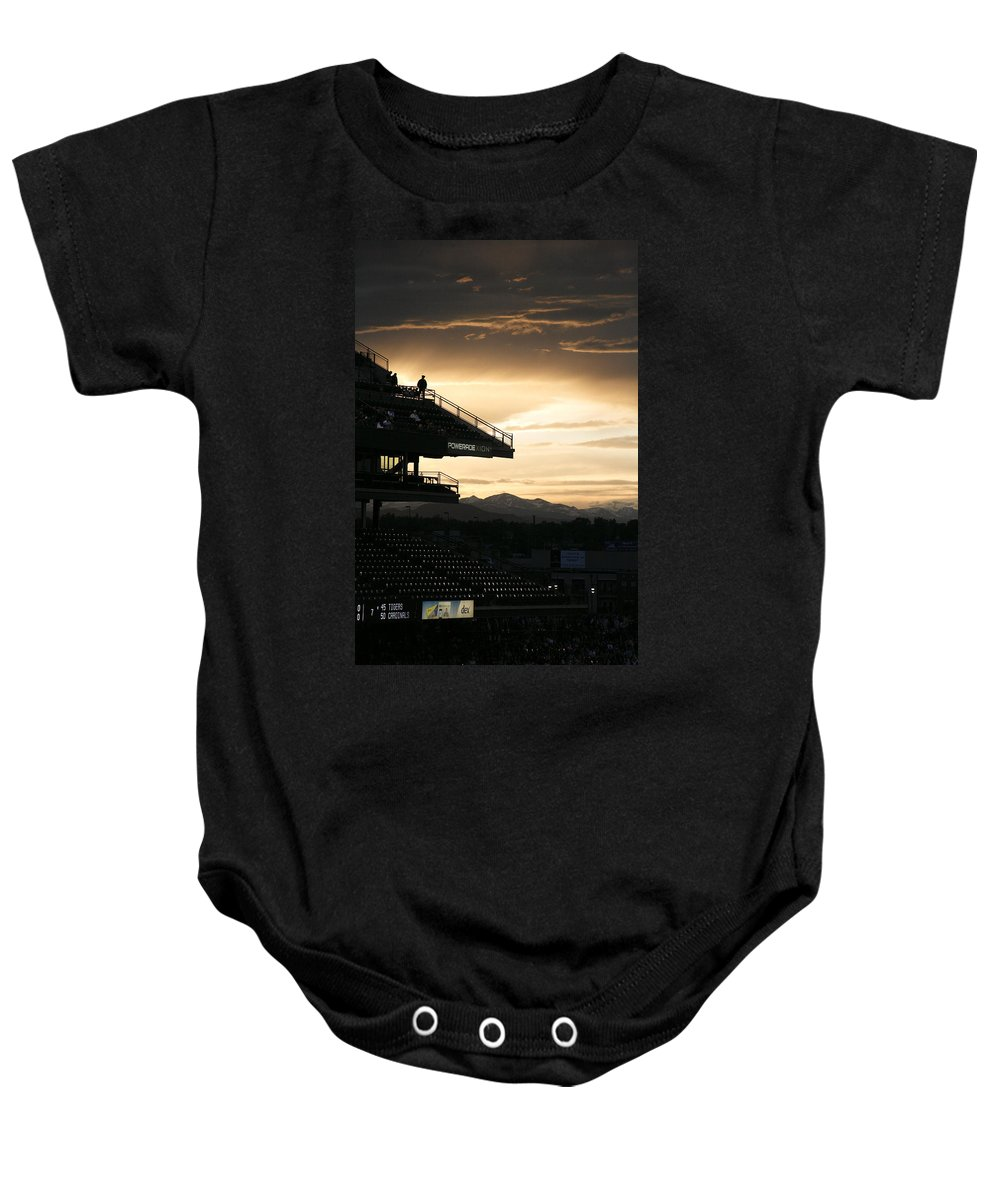 Americana Baby Onesie featuring the photograph Coors Field At Sunset by Marilyn Hunt