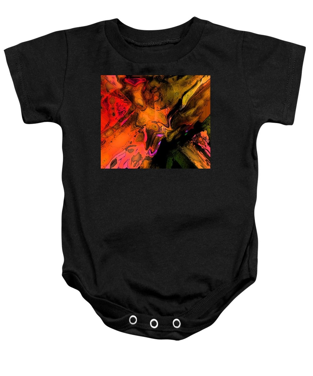 Abstract Baby Onesie featuring the digital art Copper Smelter by Ian MacDonald