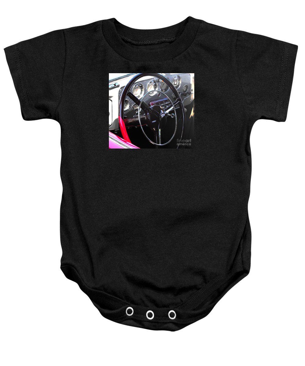 Cord Baby Onesie featuring the photograph Cord Phaeton Dashboard by Neil Zimmerman